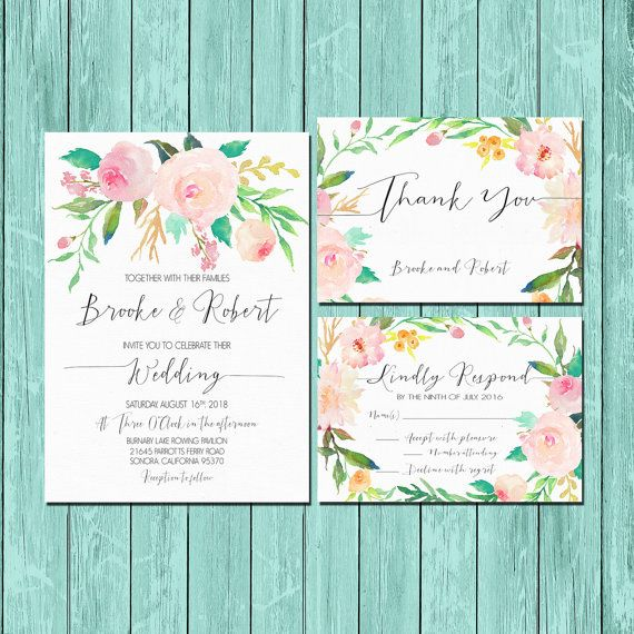 Printable Wedding Invitation set Customizable Wedding Invites DIY Wedding Invitation Set Pink and Green Floral Printable digital files