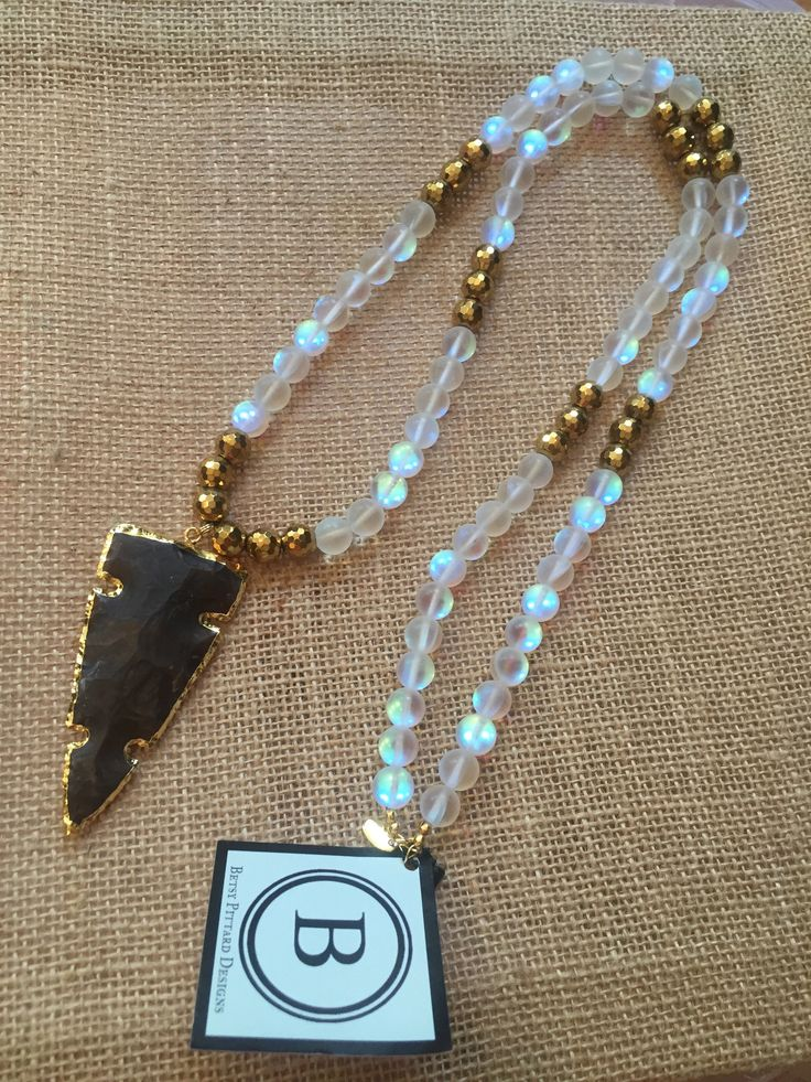 Betsy Pittard Moonstone and Gold Bead Necklace with Electroplated Arro – Two Cumberland