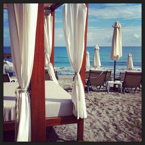 Sunbeds. Agia Marina, Crete, Thalassa Beach Resort, Greece, 2013