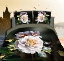 2016 nova 4 Pcs flores de beleza lobo 3d conjuntos de cama mais grosso conjunto de cama King Size folha de cama almofadas capa de edredão colcha consolador(China (Mainland))