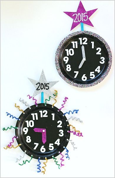 Count down the hours until the new year using the movable clock hands! (New Year's Eve Activity for Kids: Paper Plate Countdown Clocks)~ BuggyandBuddy.com