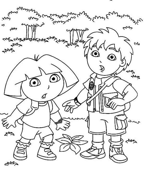 Coloring Dora And Diego In The Forest Explorer Coloring P And Dora Coloring Pages Halloween Pumpk Dora And Diego In The Forest In Dora The Explorer Coloring Pag