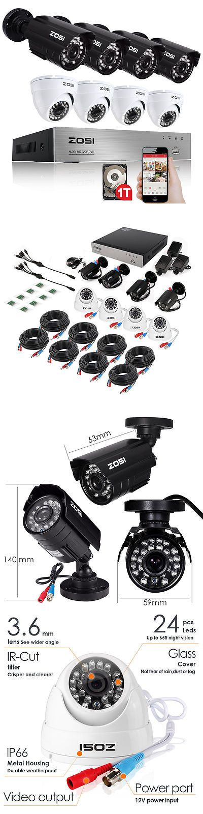 Surveillance Security Systems: Zosi 720P 8Ch Hdmi Dvr 1500Tvl Outdoor Night Vision Security Camera System 1Tb BUY IT NOW ONLY: $209.99