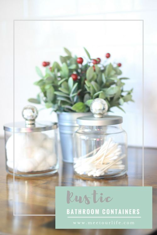 Rustic Bathroom Containers. Give the perfect DIY gift this holiday season with this Farmhouse inspired rustic bathroom containers. Click through or repin later. www.meetourlife.com