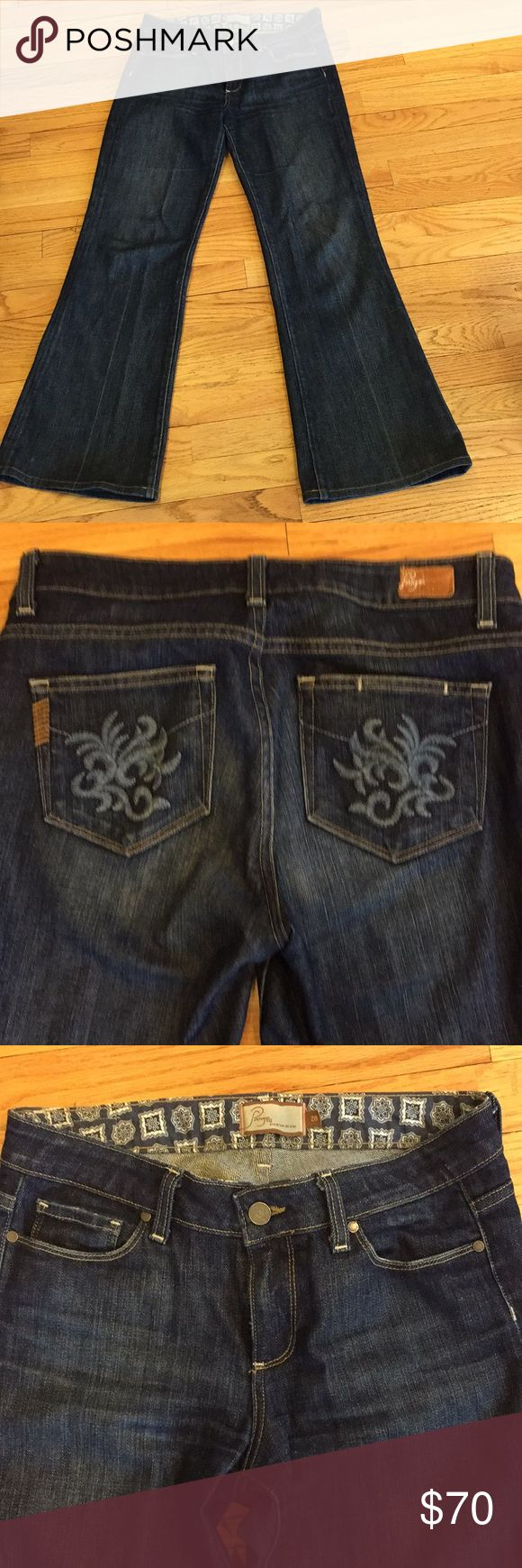 Anthropologie Paige denim jeans Anthropologie Paige Jeans. Size 28. Flaired bottom. Dark Jean color. Excellent condition. Size 28. No trades.   Measurements (Taken while lying flat)  Waist: 28 Length:  36-37 inc Anthropologie Jeans Flare & Wide Leg