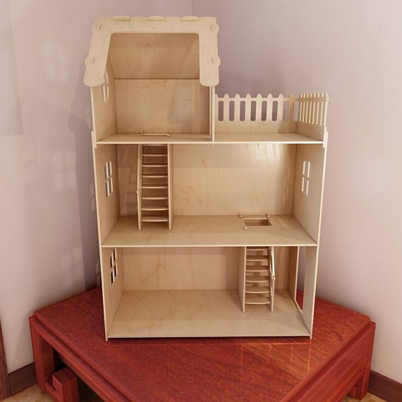 Big plywood Doll house v1. 6mm plywood. Vector model for CNC router and laser cutting. Barbie size dollhouse.
