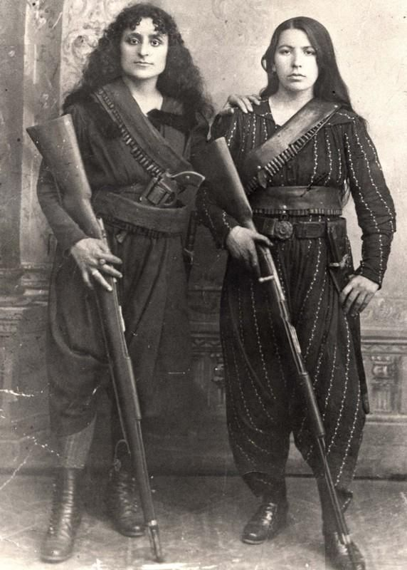 WARRIORS: Armenian women, 1895. (To the right, Eghisapet Sultanian, great grandmother of musician Derek Sherinian during the 1895 Hamidian massacres, when the Armenians of Zeitun (modern Süleymanlı), fearing the prospect of massacre, took up arms to defend themselves from Ottoman troops.)