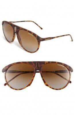 Óculos Carrera Eyewear Men's 58mm Aviator Sunglasses Blonde Havana #Oculos #Carrera