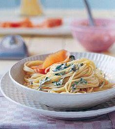 Spaghettini mit geräuchertem Lachs