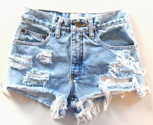 shorts ripped shorts denim blue summer indie hipster pants worn tears rips holes denim shorts