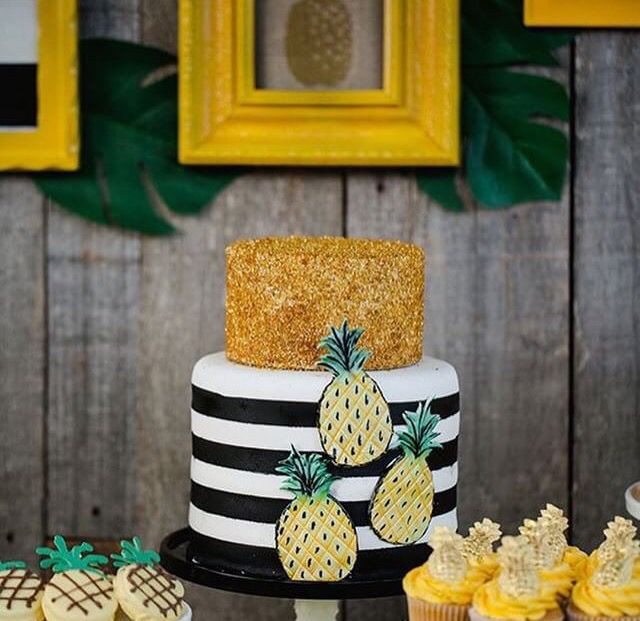Black White & Yellow Decor Pineapple Decor Pineapple Cake