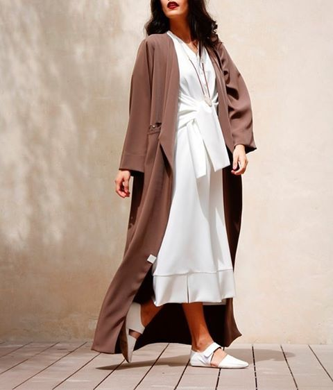 SS16 look By #HessaFalasi #Abaya & #whitedress