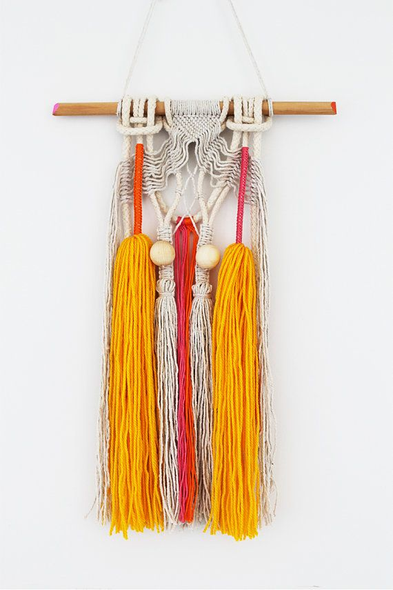 PIPA wall hanging unique boho macrame with beads and by IPIKAIPI