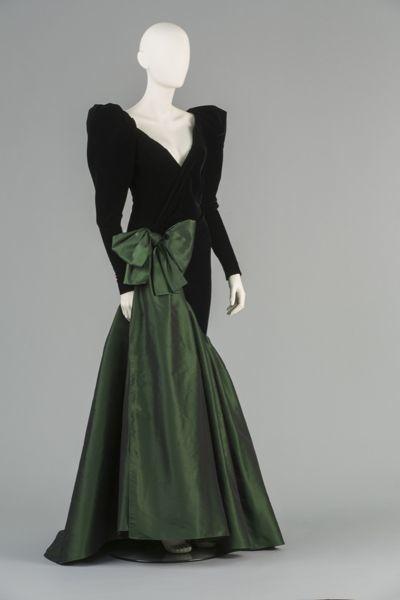 Groene taft zijde jurk