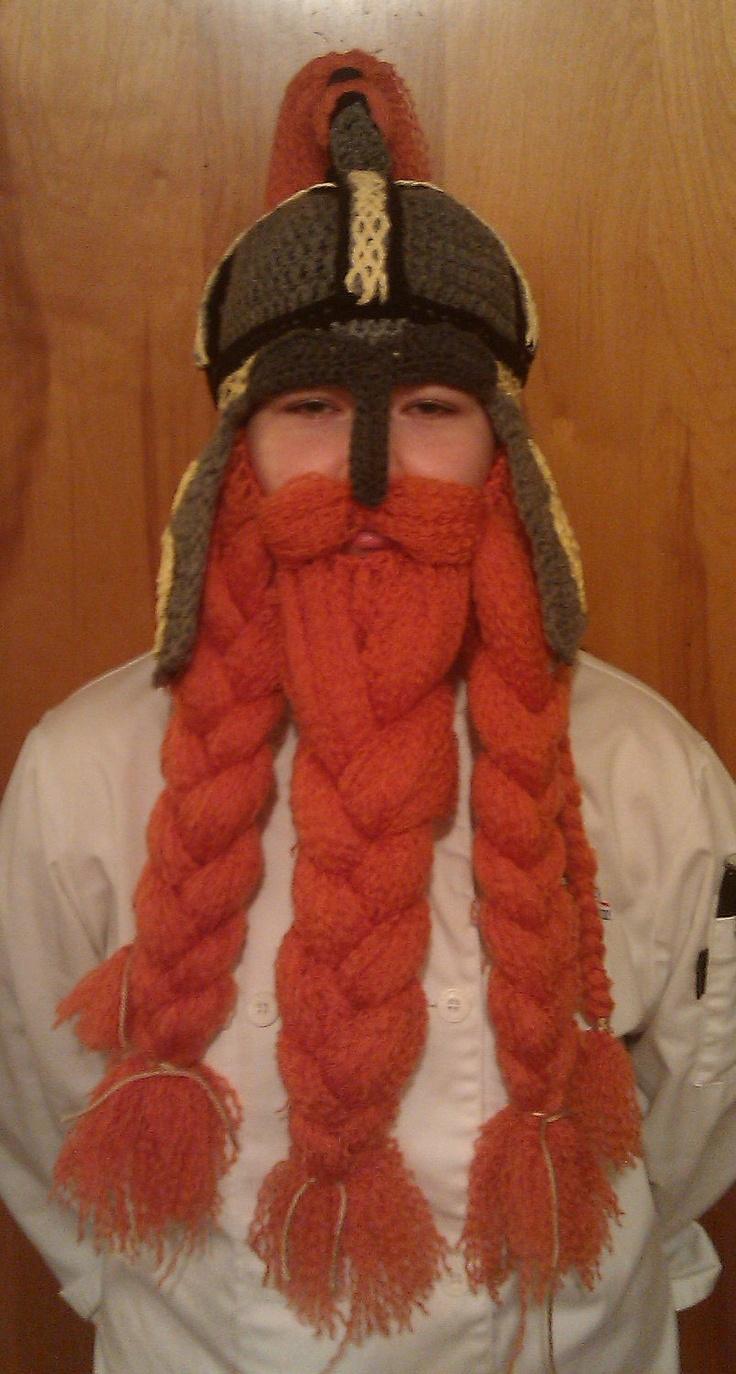 Crocheted Celtic Warrior Helm Top Knot and Beard. $115.00, via Etsy.