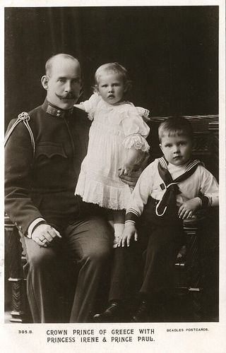 King Constantine I with his daughter Princess Irene of Greece and Denmark, and his son Prince Paul of Greece and Denmark (future King of Greece)