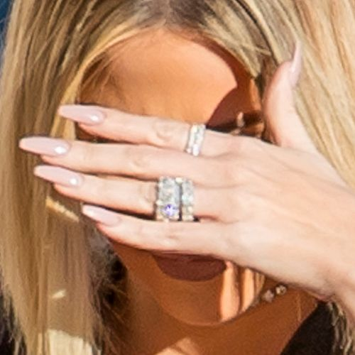 Khloe Kardashian Light Pink Foil Nails | Steal Her Style