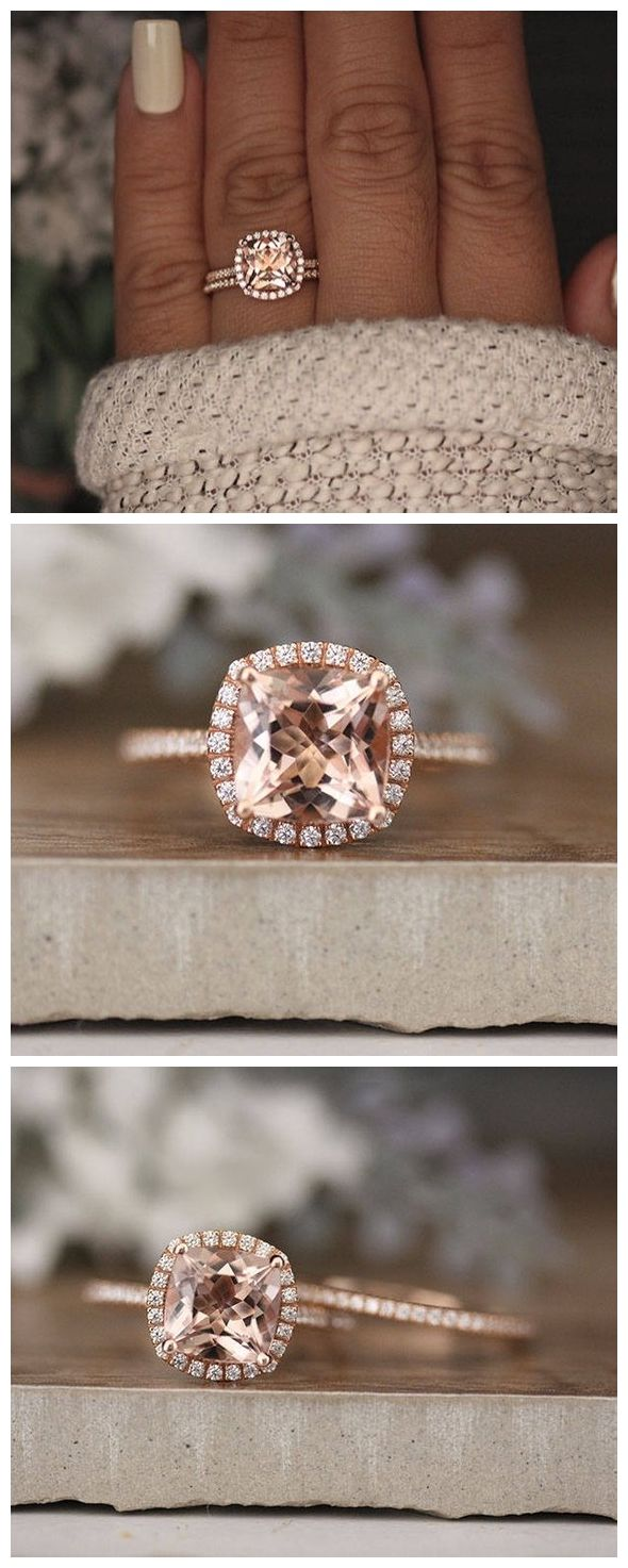 Rose Gold Morganite Ring, Cushion 8mm Morganite Engagement Ring, Diamond Band, Bridal Ring Set, 14k Rose Gold Morganite Ring, Promise Ring