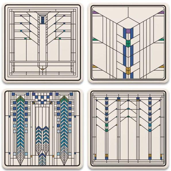 Frank Lloyd Wright Ennis House Windows Coaster Set Frank Lloyd Wright Art Glass Frank Lloyd Wright Stained Glass Frank Lloyd Wright Art