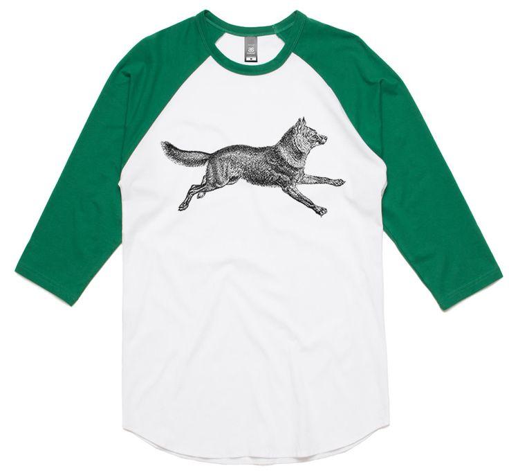 theIndie Wild Dog (Black) 3/4-Sleeve Raglan Baseball T-Shirt