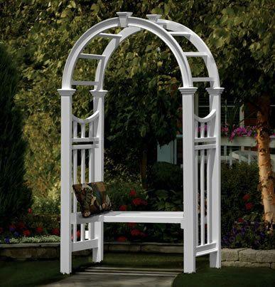 Vienna White PVC Garden Arbor W/Bench 20 Yr Warr