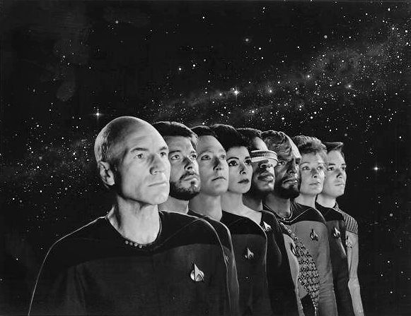 A seldom-seen promotional photo for Season 2 of The Next Generation, including Diana Muldaur (Pulaski