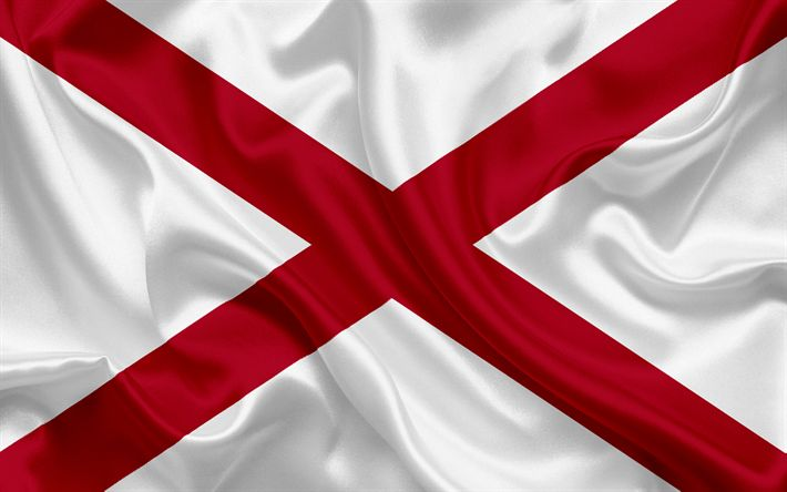 Download wallpapers Alabama Flag, flags of States, flag State of Alabama, USA, state Alabama, silk