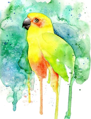 Parrot - Watercolor painting created by the Swedish artist Emma Andersson. Shop: https://www.etsy.com/ca/shop/greenfoxart/items