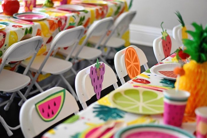 Fruit-adorned chair backs from a Colorful Tutti Frutti Birthday Party on Kara's Party Ideas | KarasPartyIdeas.com (32)