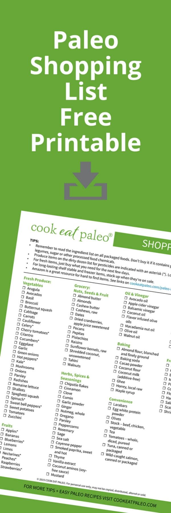 Printable paleo shopping list of everything you need to stock your pantry... plus tips on ingredients to avoid and what to buy organic.