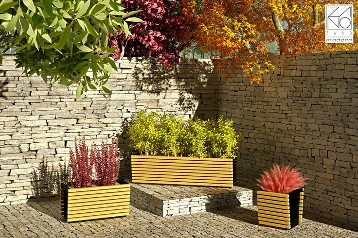 Modern, high quality planters, manufactured in softwood or exotic hardwood, based on steel construction...
