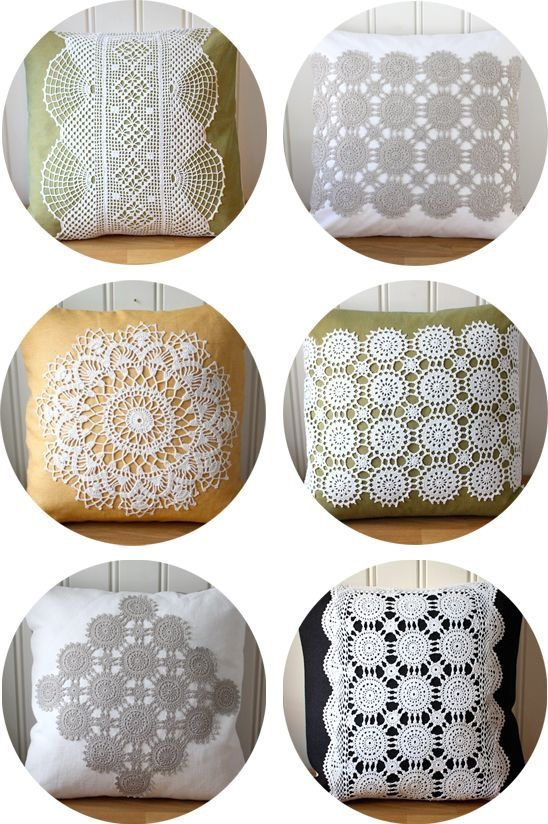 Recycled doilies as decoration on pillow, cushion