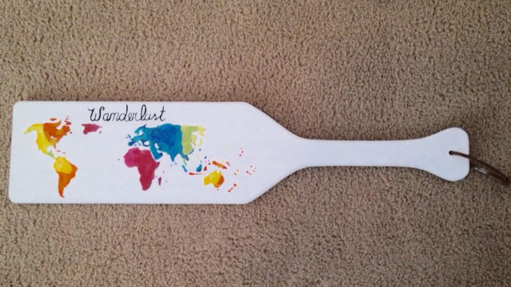 Colorful World Map Paddle! This is so cute! Get an unfinished paddle at Something Greek to make your own! http://www.somethinggreek.com/collections/fraternity-sorority-paddles-plaques