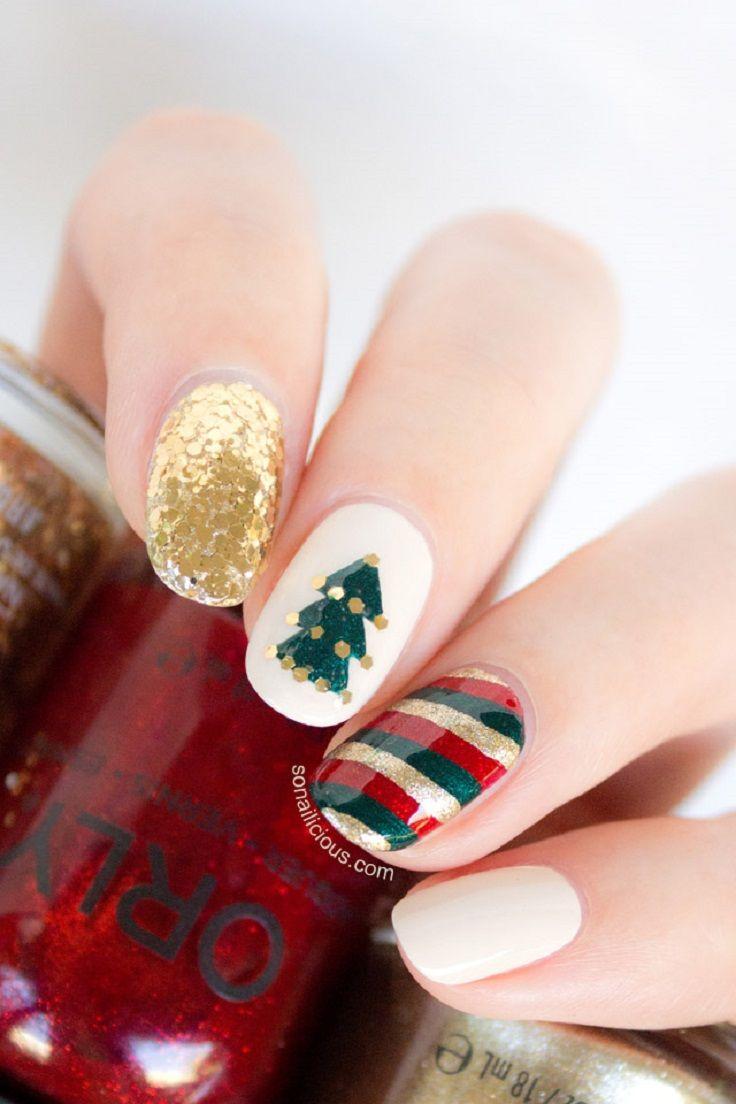 Top 10 Wonderful DIY Christmas Nail Art Ideas