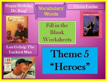 Houghton Mifflin Reading 4th Grade Theme 5 Cloze Worksheets