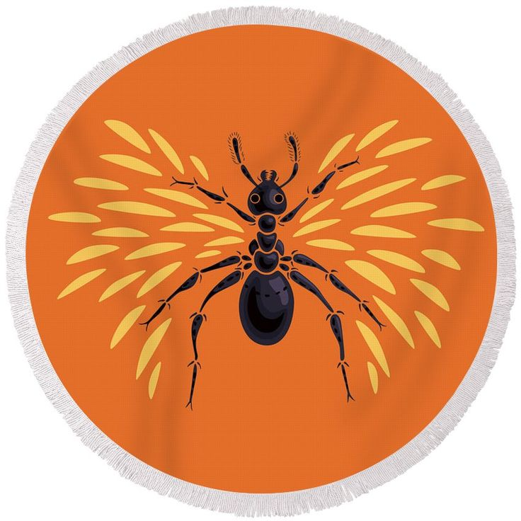 """Winged #Ant In Fiery Orange Round #Beach #Towel by Boriana Giormova.  The beach towel is 60"""" in diameter and made from 100% polyester fabric."""