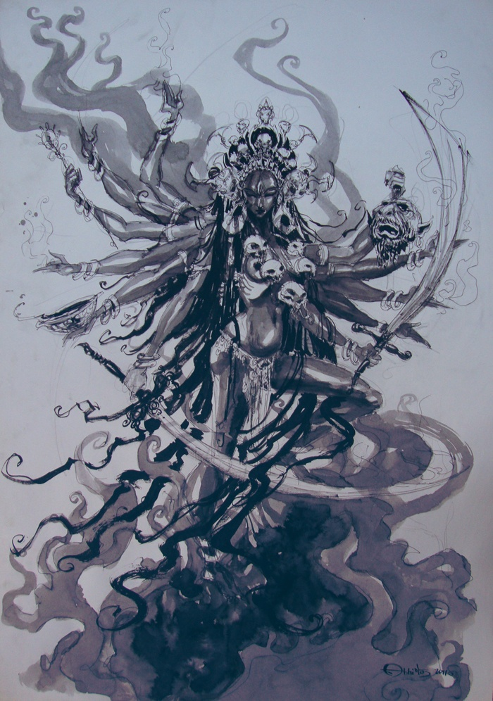 Kali, The goddess of destruction on one of her fierce rampages