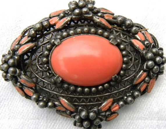 Large Vintage Antiqued Coral Filigree Brooch by VermontJewelry, $45.00