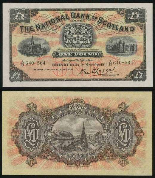1944 One Pound Sterling The National Bank of Scotland Limited Banknote Pick Number 258b Good Uncirculated Currency Note