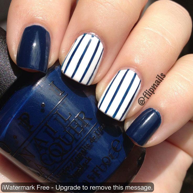 Yankees pinstripe nail art