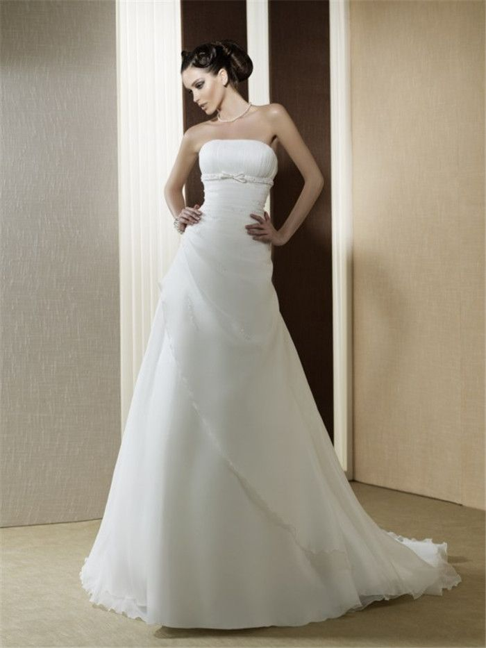 AFN strapless chapel train white bridal dresses