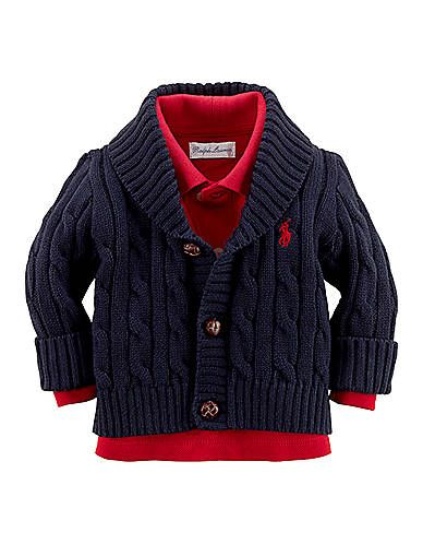 Kids' | Newborn Boys 0-9 Months | Newborn Boys 0-9 Months Long-Sleeve Cotton Cardigan | Lord and Taylor