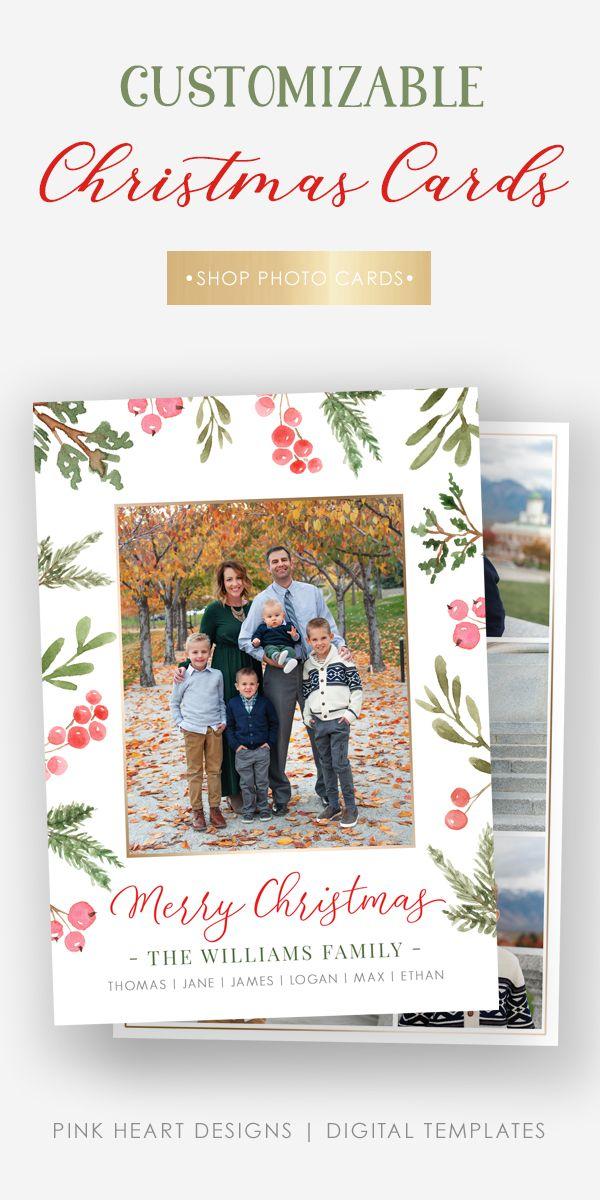 Customizable Christmas Card Christmas Card Template Photo Card Template Christmas Cards
