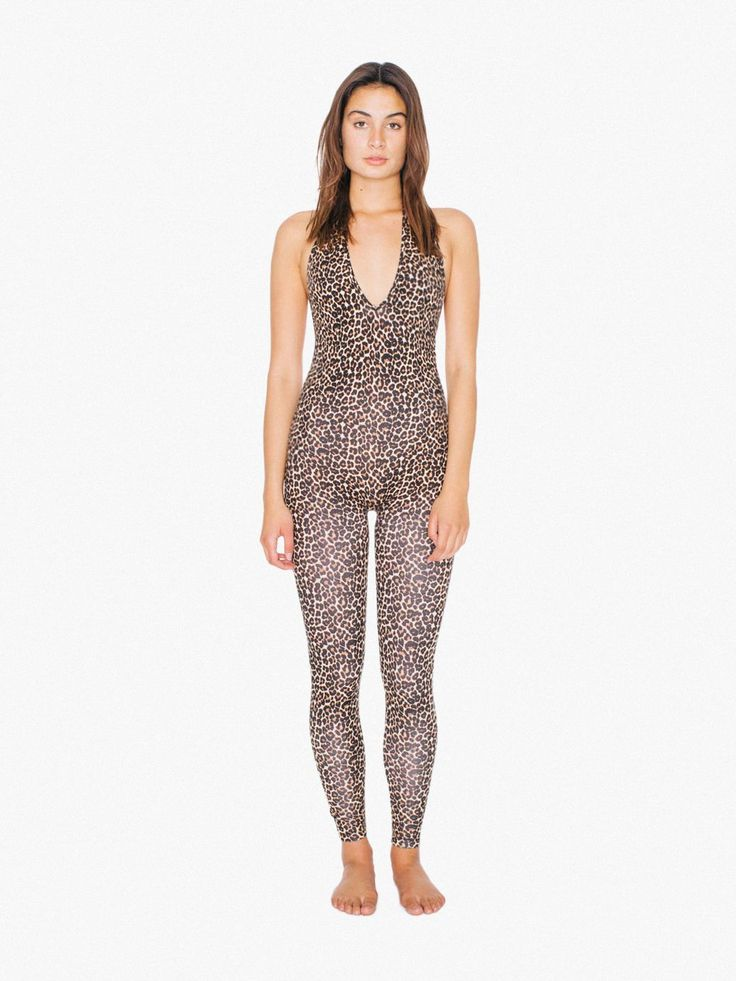 Printed Cotton Spandex Halter Catsuit