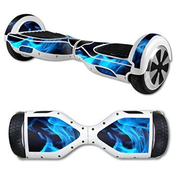 MightySkins Protective Vinyl Skin Decal for Self Balancing Scooter Hoverboard mini hover 2 wheel unicycle wrap cover sticker Blue Flames