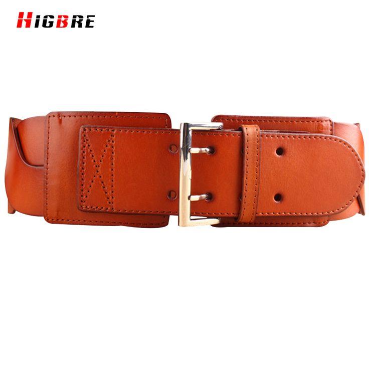 Black Brown Genuine Leather Wide Belts For Dresses Adornment Women Plus Elastic Wide Belt Cummerbunds Metal Buckle Waistband