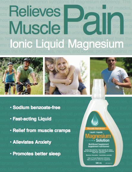 Ionic Liquid Magnesium Solution. Relieves Muscle Pain. Read more at www.prairienaturals.ca