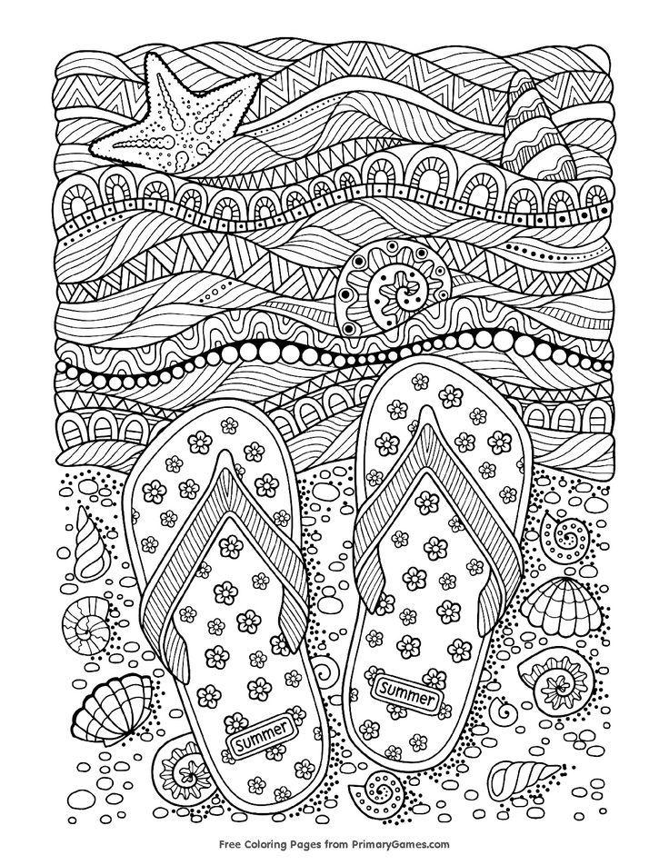 Summer Coloring Page Strand Malvorlagen Kunst Grundschule Malbuch Vorlagen
