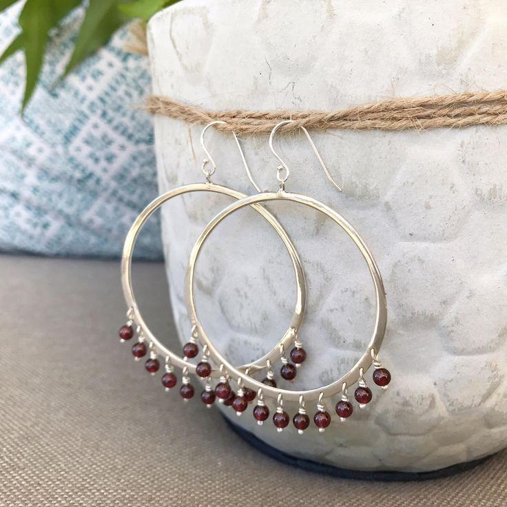 Sterling Silver Statement Hoop Beaded Earrings - Garnet by marinasaker on Etsy