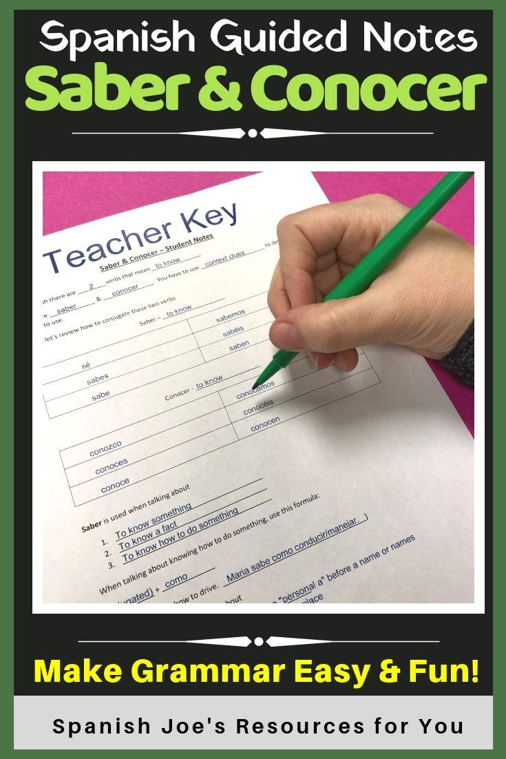 Teaching Saber Conocer In Spanish This Guided Notes Page Teacher Key Help Students Kids Organi Guided Notes Writing Practice Worksheets Vocab Activities [ 1102 x 735 Pixel ]